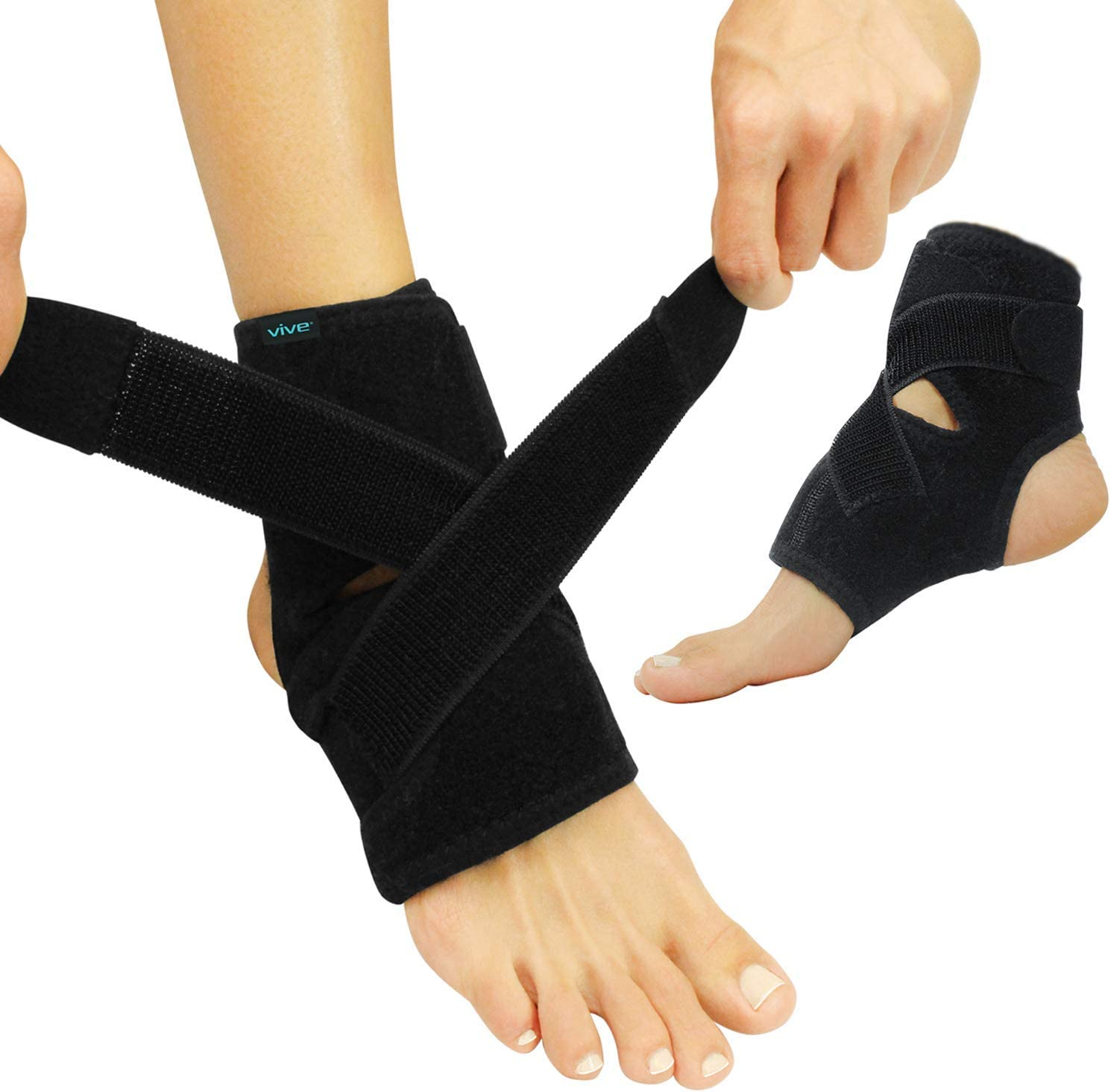 Vive Foot Ankle Wrap - Right and Left Foot Support Sleeve Brace for Men and Women - Adjustable Sprained Feet- Lightweight, Breathable Guard - Stabilizer for Running, Rolled Sprains, Swollen Tendonitis