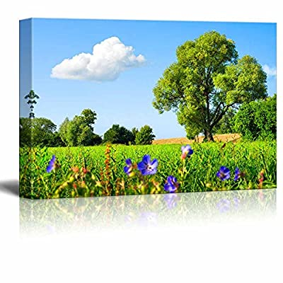 Idyllic Scenery Landscape with Fresh Green Meadow Trees Spring Flowers Blue Sky and White Clouds - Canvas Art Wall Art - 16