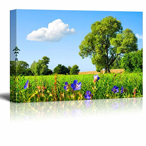 Idyllic Scenery Landscape with Fresh Green Meadow Trees Spring Flowers Blue Sky and White Clouds Wall Decor ation