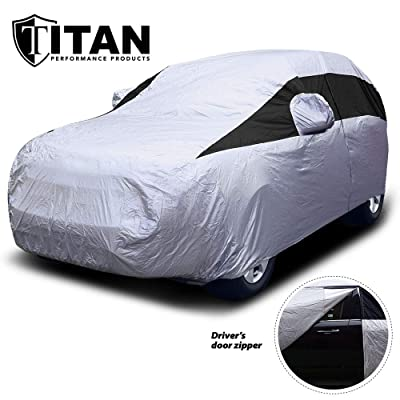 Titan Lightweight Car Cover. Mid-Size SUV. Fits Ford Explorer, Jeep Grand Cherokee, and More. Waterproof Cover Measures 206 Inches, Includes a Cable and Lock and Driver-Side Door Zipper.: Automotive