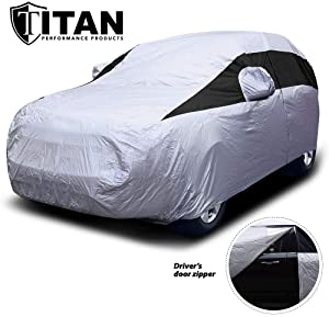 Titan Lightweight Car Cover. Mid-Size SUV. Fits Ford Explorer, Jeep Grand Cherokee, and More. Waterproof Cover Measures 206 Inches, Includes a Cable and Lock and Driver-Side Door Zipper.