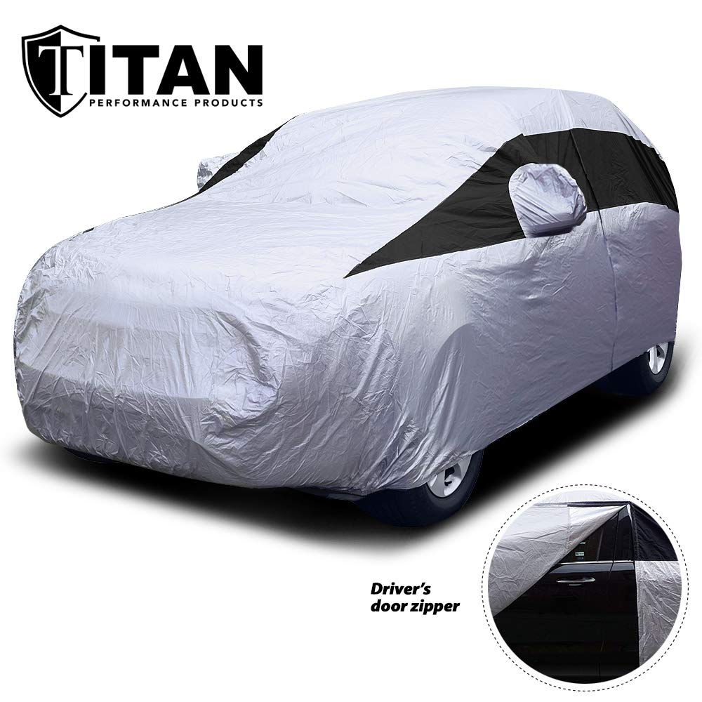 Titan Lightweight Car Cover. Mid-Size SUV. Fits Ford Explorer, Jeep Grand Cherokee, and More. Waterproof Cover Measures 206 Inches, Includes a Cable and Lock and Driver-Side Door Zipper. by Titan Performance Products