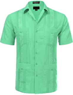 JD Apparel Mens Short Sleeve Cuban Guayabera Shirts