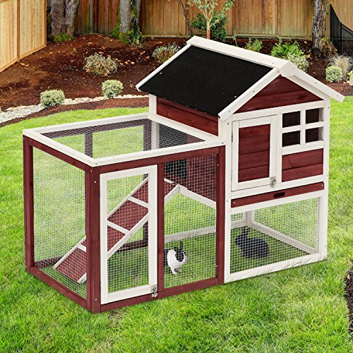 "PawHut 48"" Weatherproof Wooden Rabbit Hutch with Slant Roof and Screened Outdoor Run"