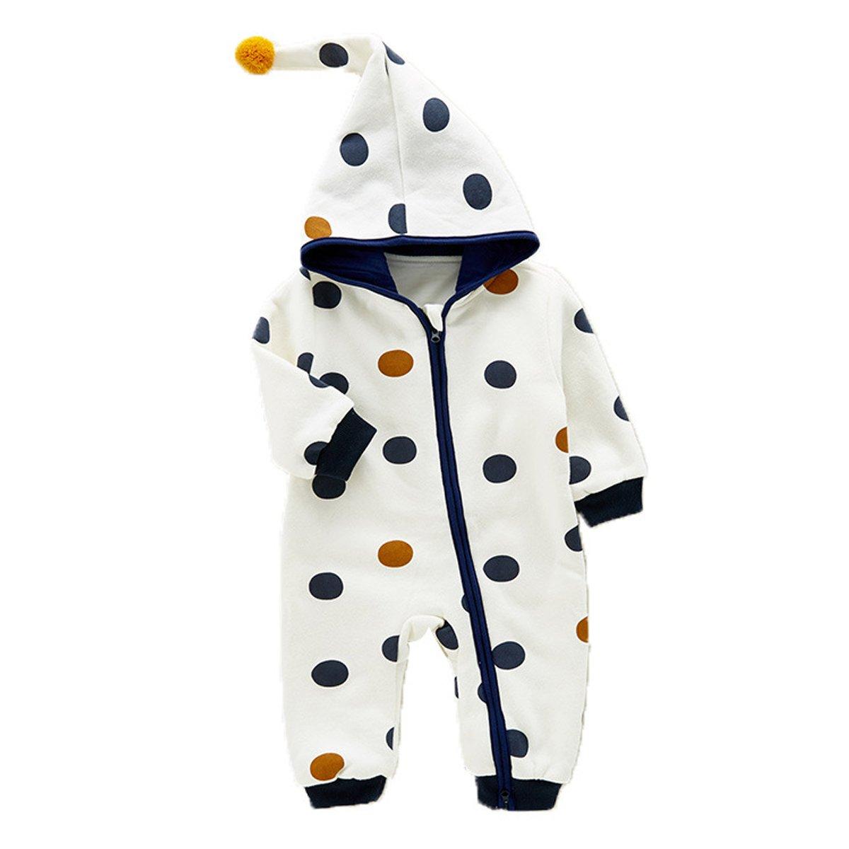 Kanodan Baby Boys Girls Romper Autumn Winter Hooded Jumpsuit Zipper Bodysuit