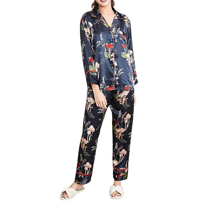 Mujer Pijamas Mujer Primavera Otoño Satín Tops Conjunto De ...