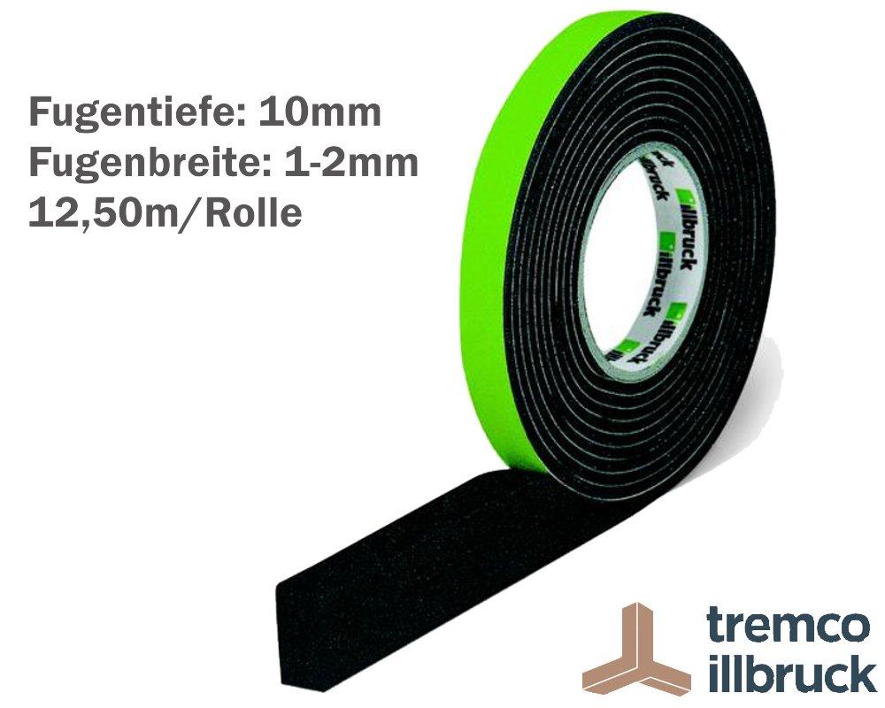 illbruck Profi Fugen Kompriband TP610 illmod eco BG1 Gr/ö/ße 10//1-2 Rolle 12,50 m grau