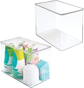 mDesign Plastic Stackable Kitchen Pantry Cabinet or Refrigerator Food Storage Container Bin, Attached Hinged Lid - Organizer for Snacks, Produce, Pasta - Deep Container - 2 Pack - Clear