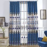 WPKIRA Grommet High-end European Chenille Jacquard Blue Semi Blackout Curtains Panels Window Treatment Thermal Insulated Curtain Drapes Embroidery Curtains for Living Room 1 Panel W82 x L100 inch