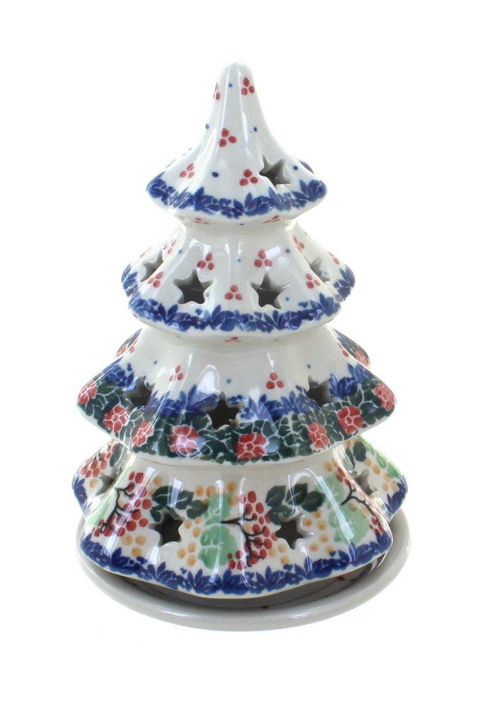 Blue Rose Polish Pottery Holly Medium Christmas Tree Luminary