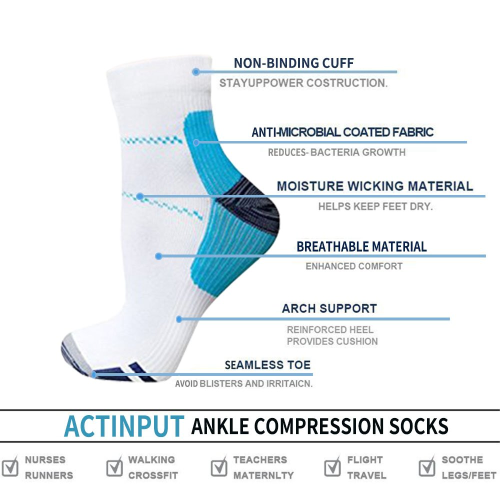 Plantar Fasciitis Support Compression Socks Women Men -3 Pairs- Best Running Ankle Athletic Socks(S/M, Assort2) by ACTINPUT (Image #4)