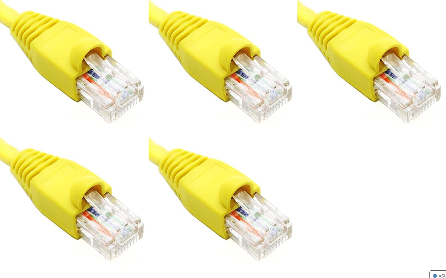 Yellow 2FT Cat6 Ethernet Network Cable LAN Internet Patch Cord RJ45 Gigabit Ultra Spec Cables Pack of 5