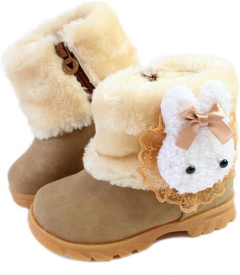 DFXIU Baby Girls Infant Toddler Winter Artificial Fur Shoes Rabbit Snow Boots