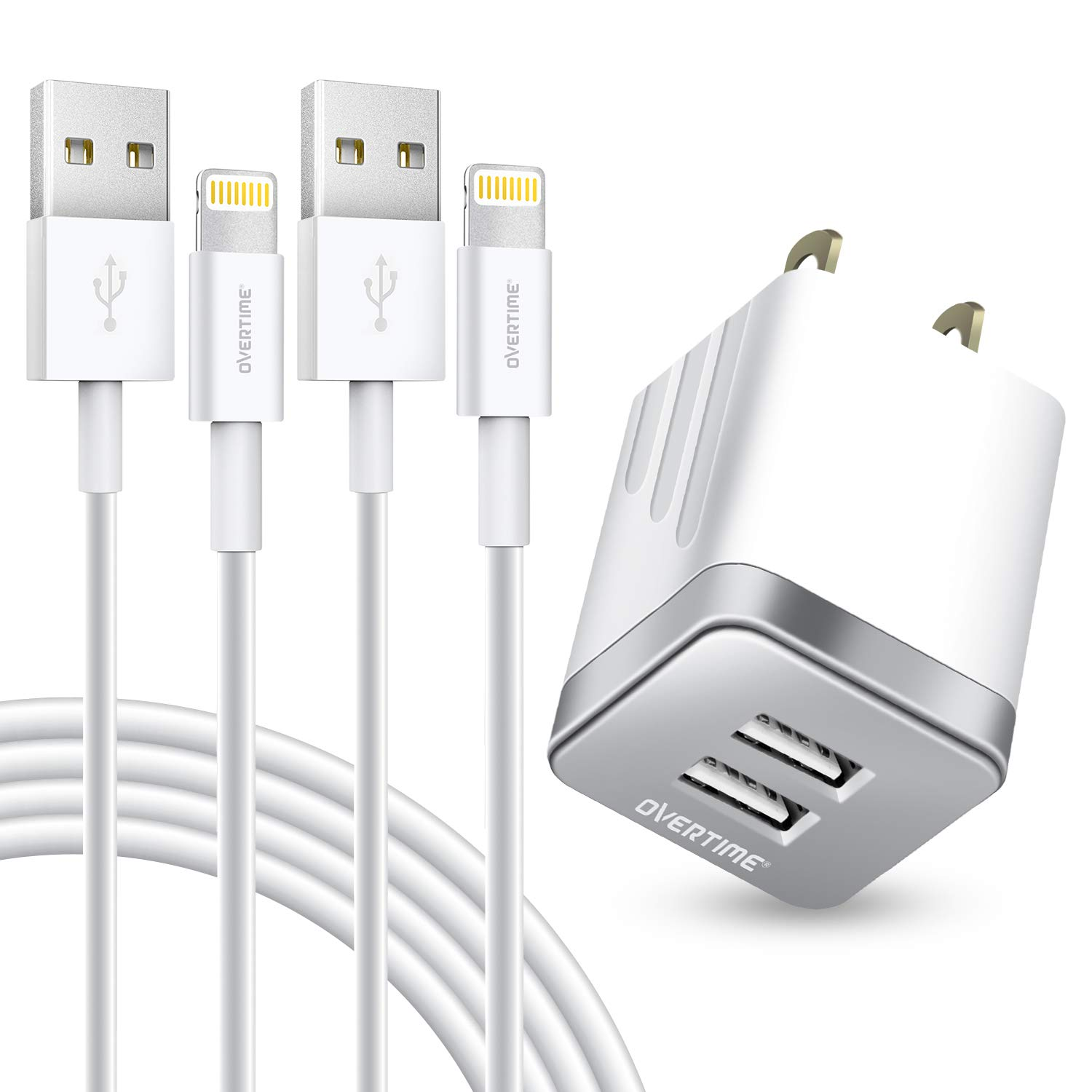 iPhone Charger Set, 2-Pack Overtime Apple MFi Certified Lightning Cables with 1 Dual USB Wall Adapter - 2.4 AMP Compatible w/iPhone 11 Pro Max XS XR X 8 7 6S 6 Plus SE iPad (Silver/White, 4ft)