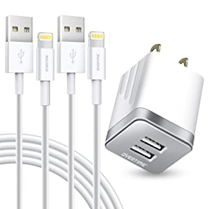 iPhone Charger Set, 2-Pack Overtime Apple MFi Certified Lightning Cables with 1 Dual USB Wall Adapter - 2.4 AMP Compatible w/iPhone 11 Pro Max XS XR X 8 7 6S 6 Plus SE iPad (Silver/White, 6ft)