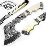 """Beautiful Camel Bone 9.9"""" Fixed Blade Custom Handmade Damascus Steel Hunting Axe with Damascus Steel Spacers and Unique File Work On The Handel A Piece of Craftsmanship Limited Edition"""