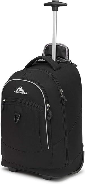 High Sierra Chaser Wheeled Laptop Backpack, Black, 20 x 13.5 x 8-Inch