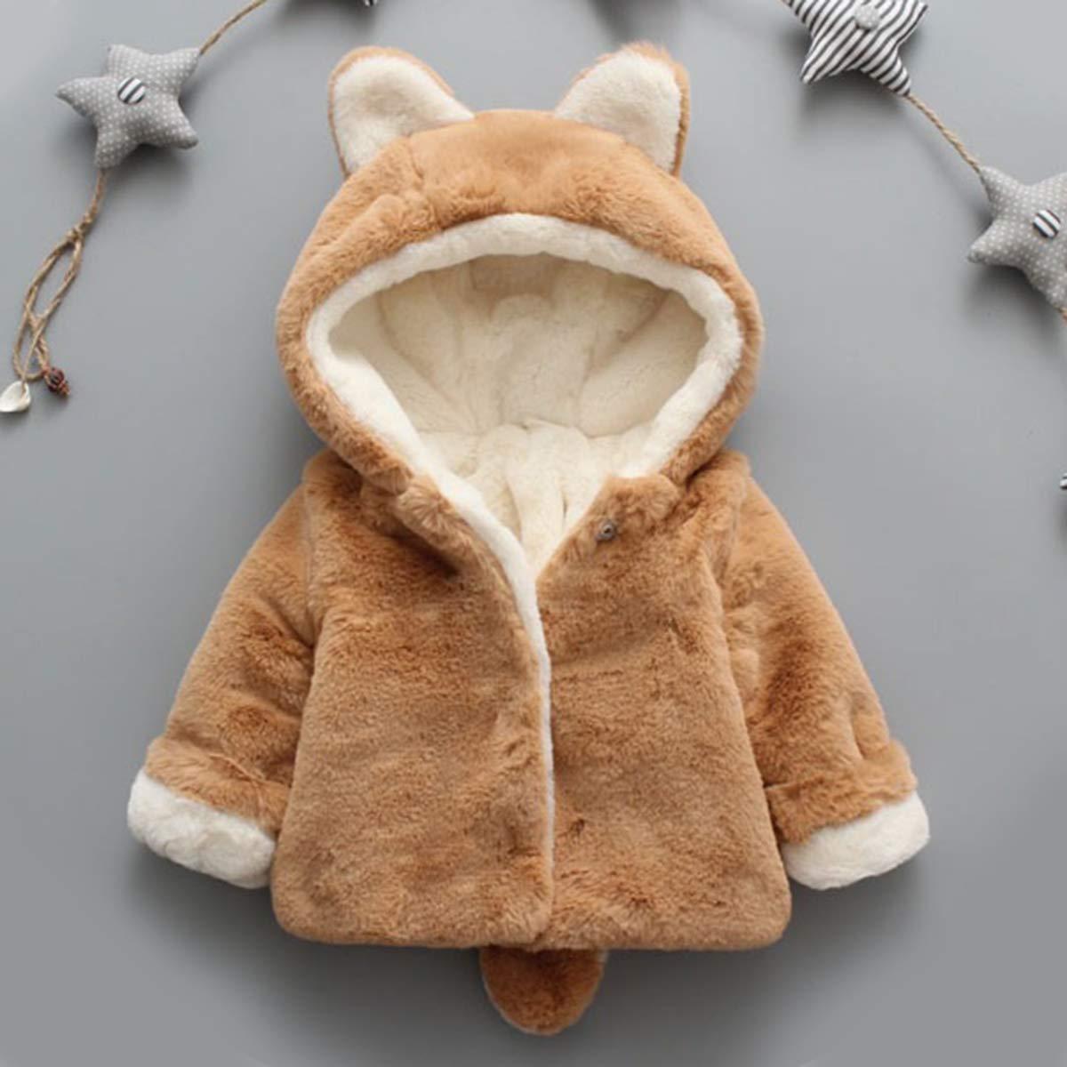 greatmtx Manteau dhiver de b/éb/é Fille Manteau Veste /épaisse Chaude et Douce,Cute Ear Hooded Snowsuit Outwear