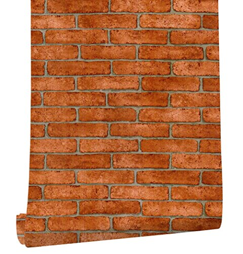 HaokHome 62033 Faux Brick Peel and Stick Wallpaper Orange Red/Grey Self Adhesive Contact Paper