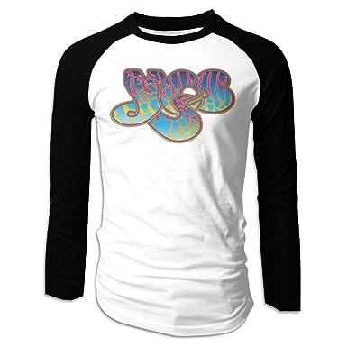 640c0ed189d9 LOVEGIFTTO MEN Mens YES Rock Band Logo Long Sleeve Comfort Raglan Tee Shirt  Large
