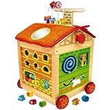 I M TOY Carrellino MULTIATTIVITA In Legno Per Bambini. giochi in legno per prima infanzia. Primi Passi. - IM87160
