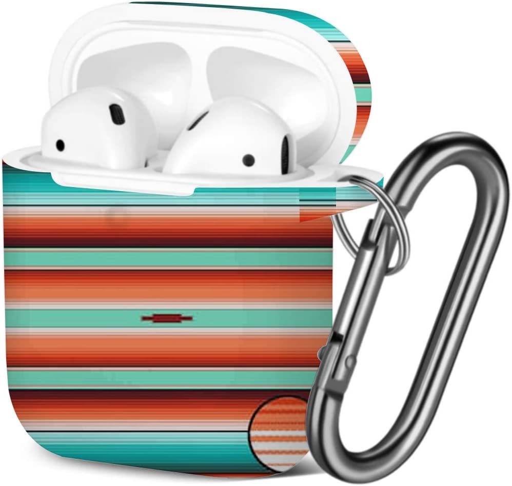 Shockproof Soft TPU Gel Case Cover with Keychain Carabiner for Apple AirPods Compatible with AirPods 2 and 1 Teal Orange Turquoise Southwestern Blanket