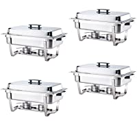ALPHA LIVING 4 Pack 8QT Chafing Dish High Grade Stainless Steel Chafer Complete Set, 8 QT