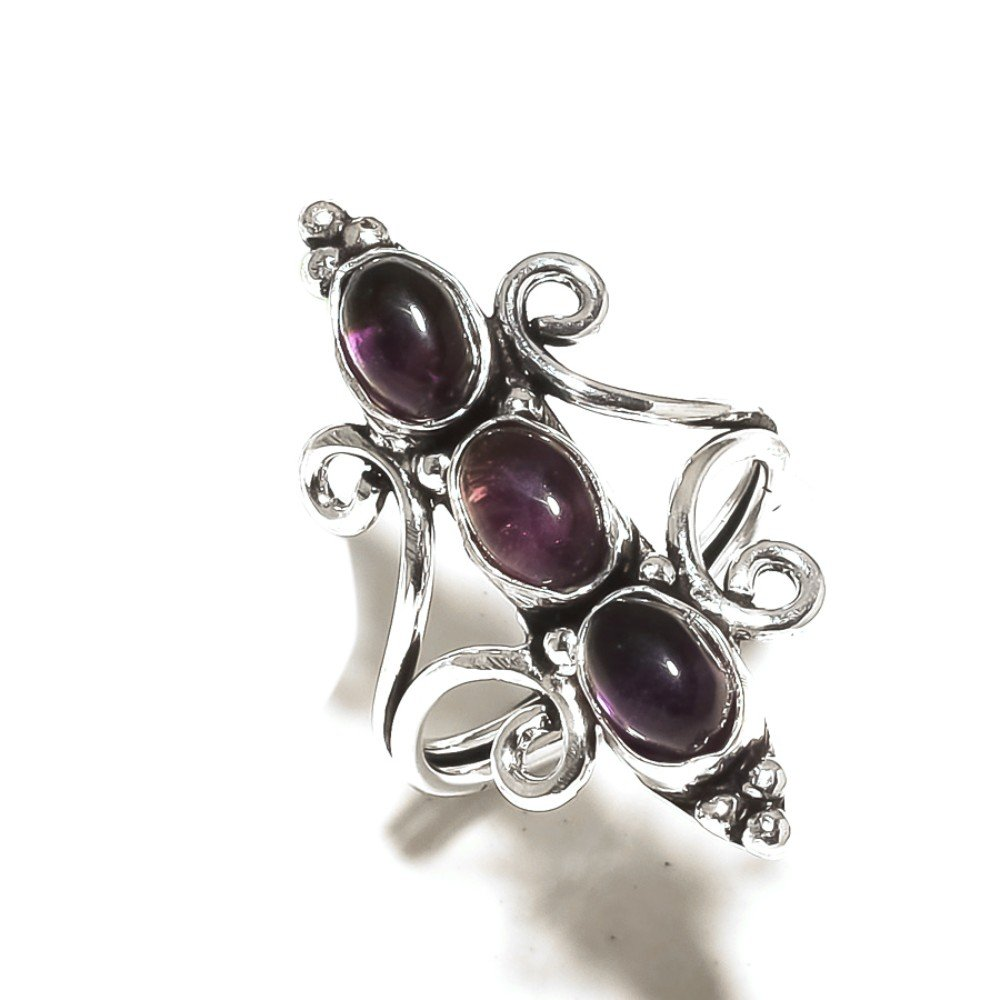 Ethnic Sizable Purple Amethyst Quartz Handmade Jewellry 925 Sterling Silver Plated 6 Grams Ring Size 7.5 US