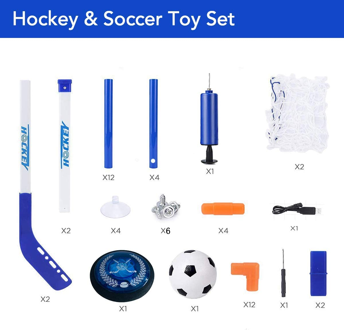 RGB Led Light Rechargeable and Battery Hockey Set for 3 4 5 6 7 8 9 10 11 12 Year Old Kids XIZECK Hockey Set Soccer Kids Toys Hockey Gift Indoor Outdoor Air Power Training Ball Playing Hockey Game