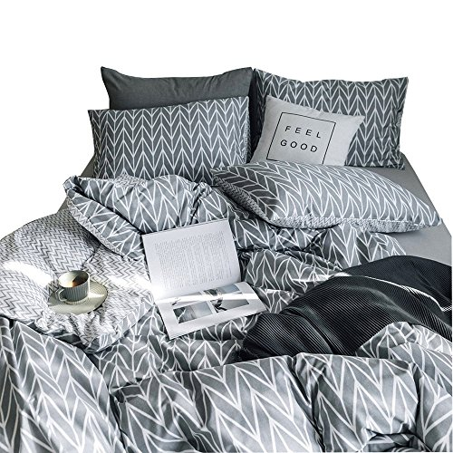 AMWAN Luxury Geometric Duvet Cover Set King Leaves Printed Bedding Set 3 Piece Cotton Reversible Duvet Cover and Pillow Shams Boys Girls Duvet Cover Set with Zipper Closure and Corner (Geometric Leaf)