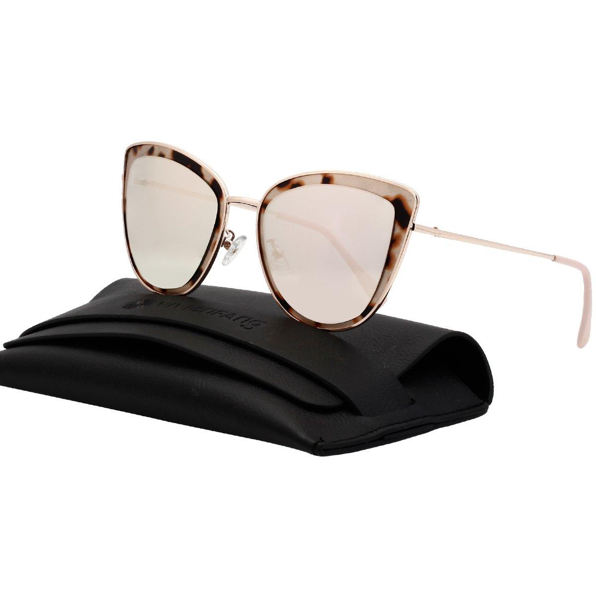 VIVIENFANG Mirror Lens Oversized Women Cateye Sunglasses Leopard Print Metal Frame Shades G87566A Pink