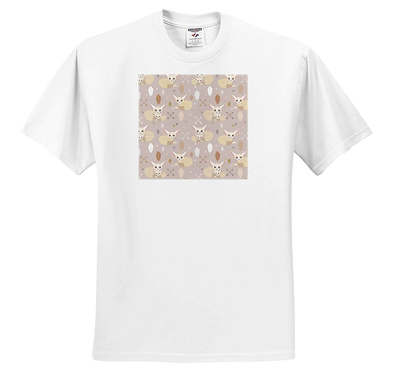 Adult T-Shirt XL Fennec Foxes Pattern ts/_310722 3dRose Janna Salak Designs Wild Animals