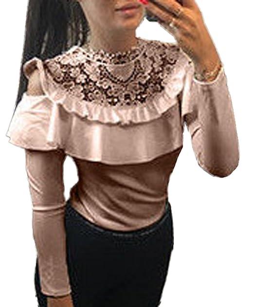 f104e6ba1 Camisetas de Encaje Empalme Mujer