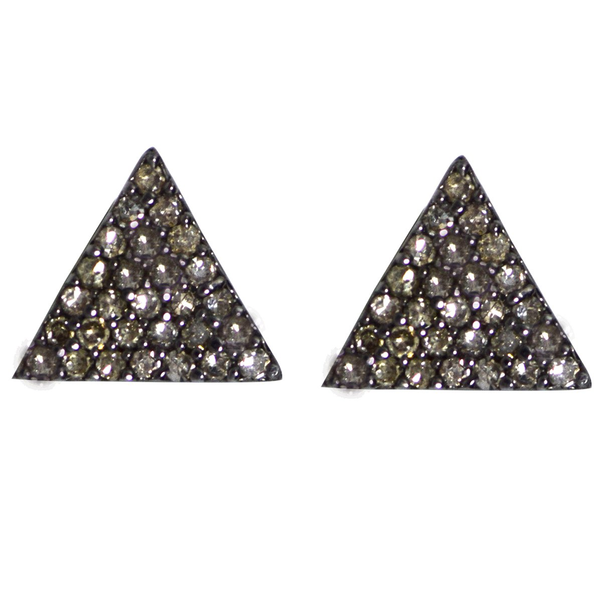 Round Cut Champagne Diamond Sterling Silver Triangle Shape Stud Earring For Party Wear