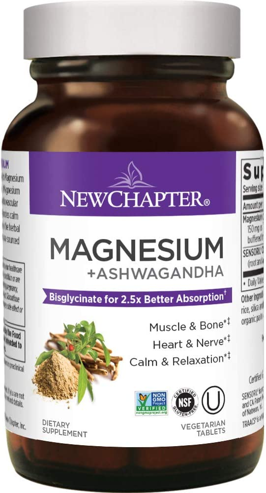 Magnesium, New Chapter Magnesium + Ashwagandha Supplement, 2.5X Absorption, Gluten Free, Non-GMO - 30ct
