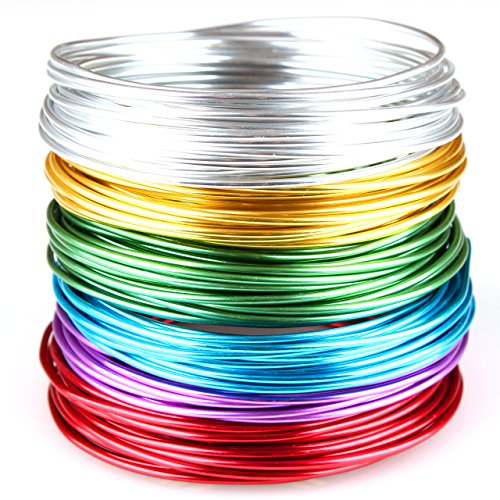 Creacraft Beading Wire Set Basic: 6 Colors of Artistic Anodized Aluminum Wire for Jewelry, Crafting, 16ft per Coil (2mm (12ga))
