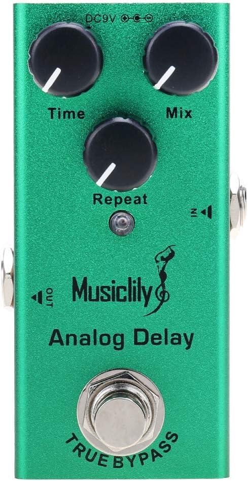 Musiclily Basic Mini Pedal de Efectos de Guitarra Eléctrica DC 9V Adaptador Powered True Bypass, Analog Delay