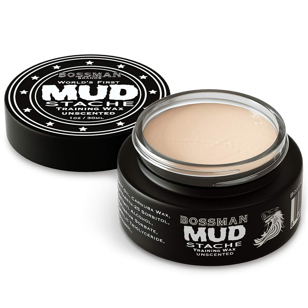 Bossman MUDstache - Mustache Wax 1oz - Easier to Apply - Lasts 24 Hrs - Water-Based - Made in USA - Tame Train and Style - Superior Hold - Unscented (Pack of 1)