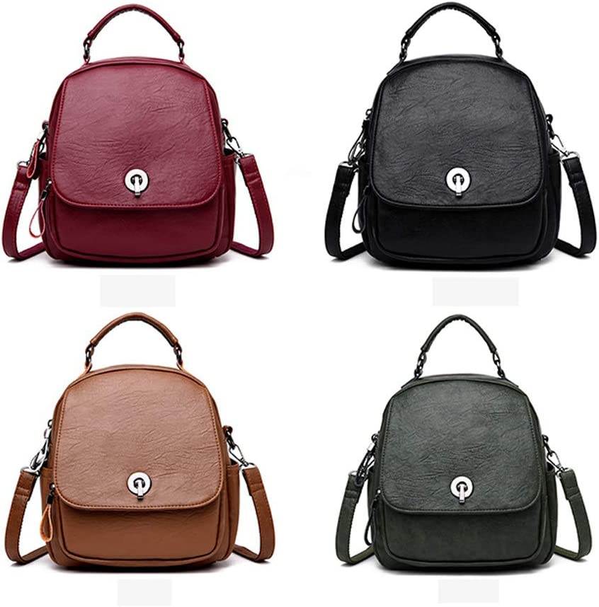 PU Leather Black//Green//red//Brown Mini Simple Latest Models Guyuexuan Girls Multi-Purpose Backpack for Daily Travel//Outdoor//Travel//School//Work//Fashion//Leisure