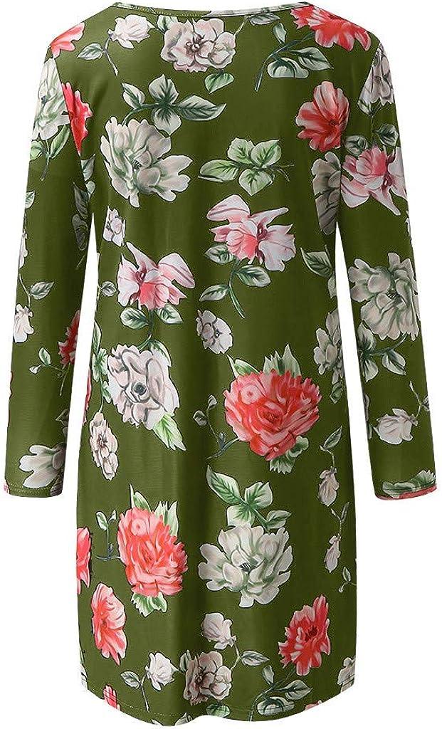 Ucoolcc Damen Schwanger Kleider Sommer Mode Slim Freizeitkleid Frauen Mutterschaft Print Rundhals Langarm Freizeit Mutterschaft Kleid Blumen Nachtkleid