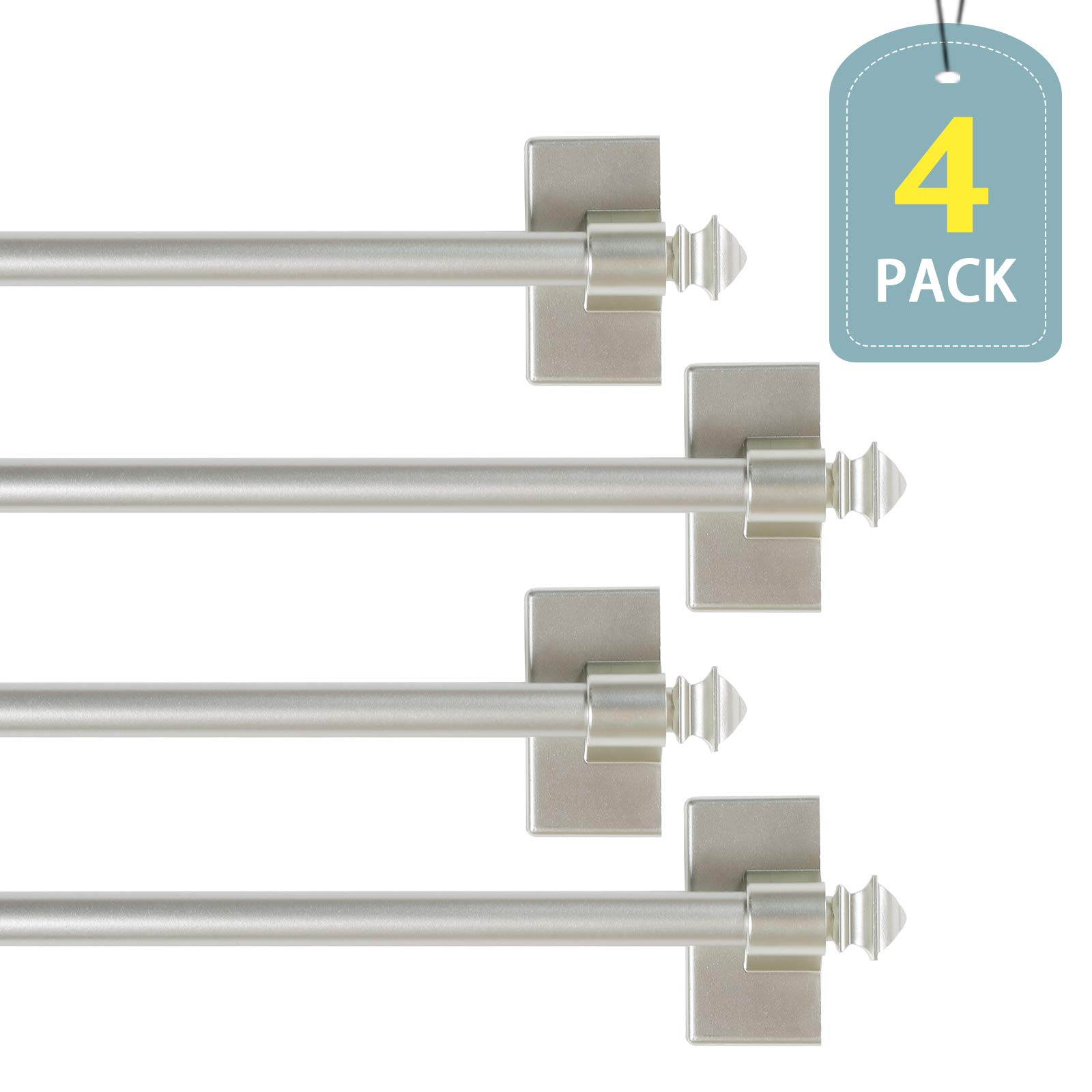 H.VERSAILTEX Multi-Use Magnetic Curtain Rods with Square Ends for Small Windows Adjustable Lenght from 16'' - 28'', Nickel, 1/2'' Diameter, 4-Pack by H.VERSAILTEX