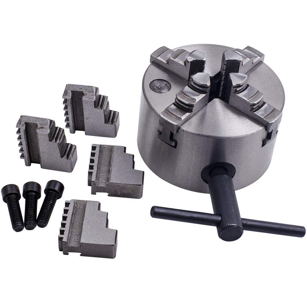 Autoslegend K12-100 4 Jaw Self-Centering Chuck with Spare Jaws for Lathe Milling 100mm
