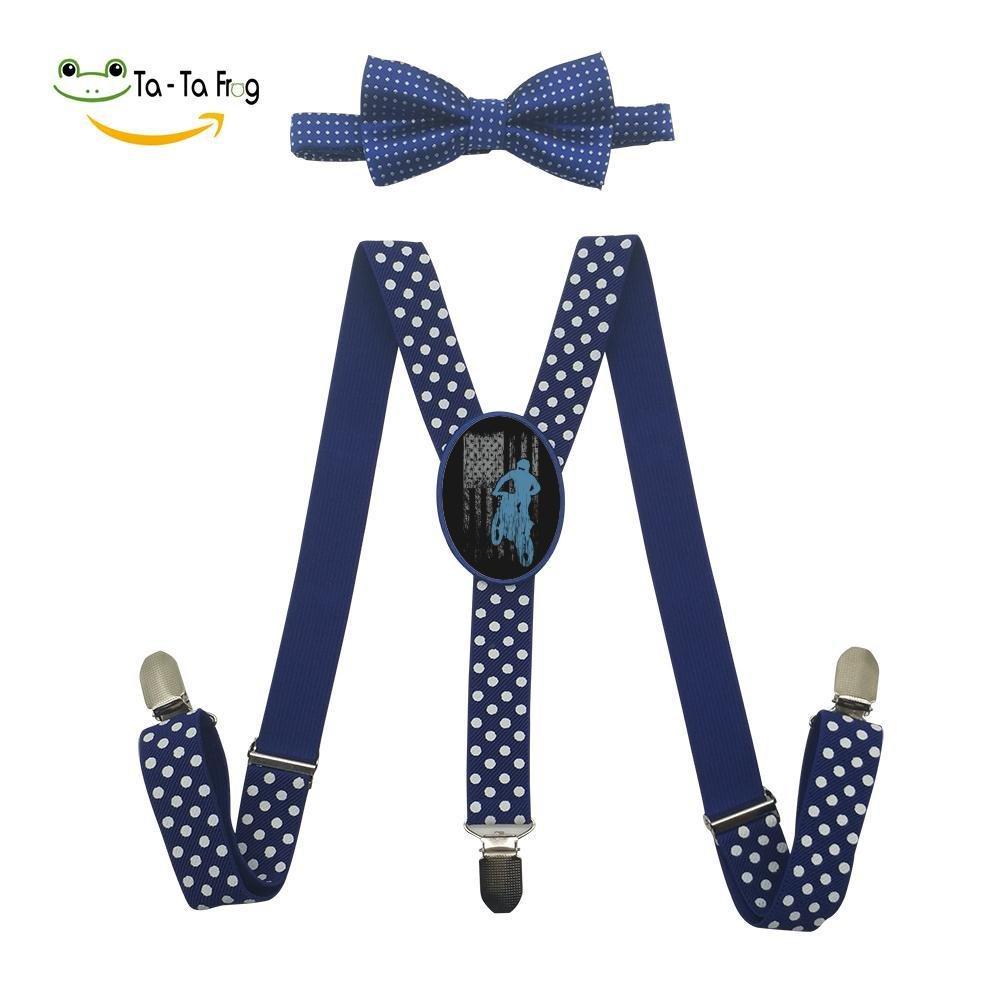 Grrry Unisxes Dirtbike American Flag Adjustable Y-Back Suspenders /& Bowtie Set