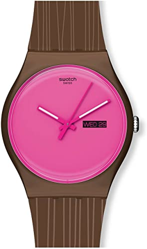 Amazon Com Swatch Women S Suoz706 Plastic Pink Dial Watch Swatch