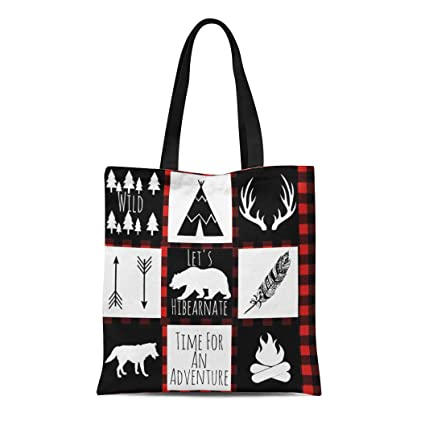 17ec394a66ff Amazon.com: Semtomn Cotton Line Canvas Tote Bag Red Lumberjack ...