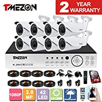 TMEZON AHD 8CH 1080P DVR Security System and 8x 2.0MP AHD IR In/Outdoor Bullet Cameras Free App 2TB HDD