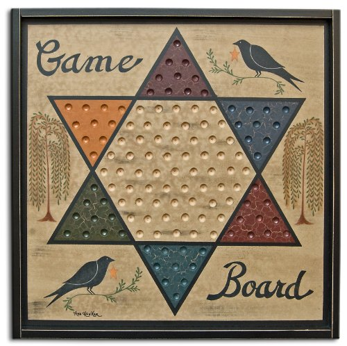 OWI Game Board Chinese Checkers Sign Primitive Country Rustic Gameboard (Wood Board Chinese Checkers)