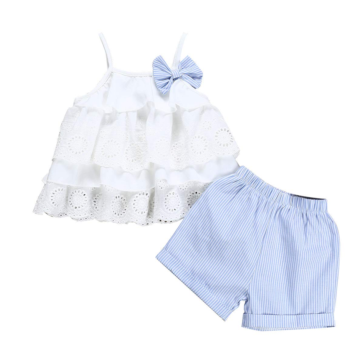 HZYBABY Toddler Baby Girls 2Pcs Outfits Clothes Sleeveless T-Shirt Vest Tops+Shorts Pants