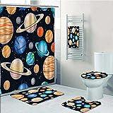 vanfan Designer Bath Polyester 5-Piece Bathroom Set,Art Solar System with Planets Mars Mercury Uranus Jupiter Venus Print Print bathroom rugs shower curtain/rings and Both Towels(Medium size)