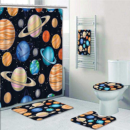 vanfan Designer Bath Polyester 5-Piece Bathroom Set,Art Solar System with Planets Mars Mercury Uranus Jupiter Venus Print Print bathroom rugs shower curtain/rings and Both Towels(Medium size) by vanfan